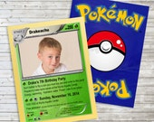 I choose you Grass Pokemon inspired birthday photo invitation