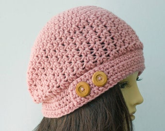 Slouch Hat, Custom Chose Color, Winter Hat, Woman's Hat, Winter Accessories, Crochet Hat, Slouchy Hat with Buttons