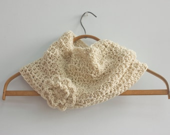 SALE, Crochet Cowl, Flower Neck Warmer, Off White Cowl, Winter Cowl Scarf, Ready to Ship , Ready to Ship