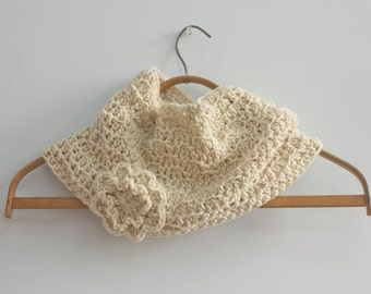 Crochet Cowl, Flower Neck Warmer, Off White Cowl, Winter Cowl Scarf, Ready to Ship , Ready to Ship