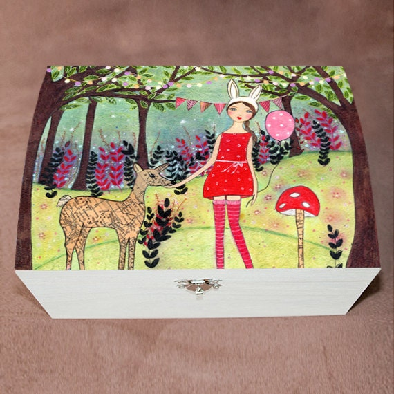 Woodland girl large jewelry box trinket box fairy tale by for Girls large jewelry box