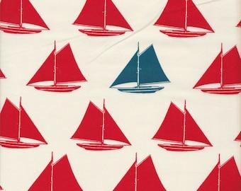 Birch Fabrics Organic Set Sail Sailboats in Cream - Half Yard