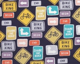 Windham Fabrics Julia Rothman Ride Bike Signs in Navy - Half Yard