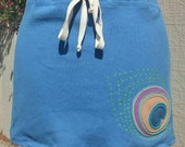 Hemp and Tencel Linen Bias Cut Drawstring Short Skirt with Peacock Applique Blue