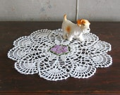 Crochet Handmade Doily with Scalloped Edges and Lilac Flower Center