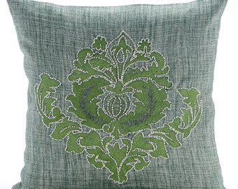 Decorative Throw Pillow Covers Couch Sofa Accent Pillow Toss Pillow Case 16 x 16 Inches Jute Burlap Pillow Thread Embroidered Green Damasko