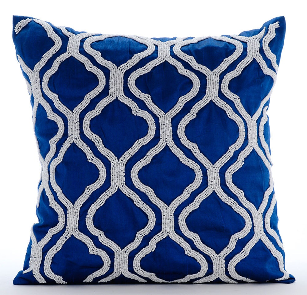 Royal blue throw pillows cover 16x16 silk for Royal blue couch pillows