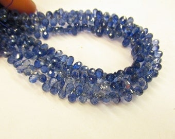 AAA Kyanite Discoball Natural Briolette Beads Sparkling Transparent 8 Inches
