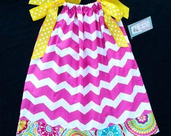 Pillowcase Dress - Girls Spring Dress - Pink Dress - Girls Sundress - Chevron Dress - Girls Birthday Dress - Groovy Gurlz