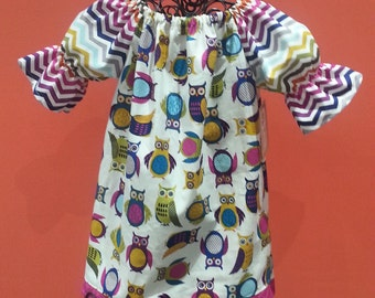 Girls Fall Dress - Owl Dress - Birthday Dress - Owl Themed Birthday - Peasant Dress - Groovy Gurlz