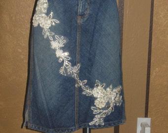 Denim Lace Skirt