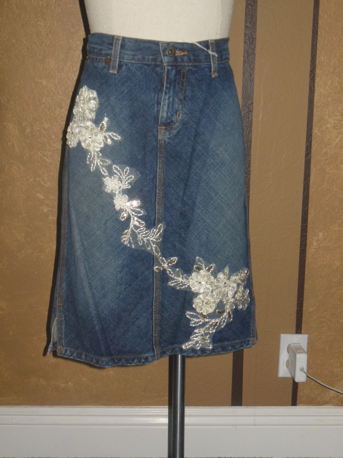 denim lace skirt