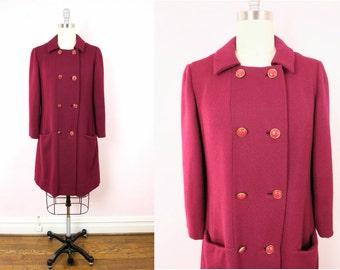 1960s Leslie Fay Burgundy Wool Coat M/L