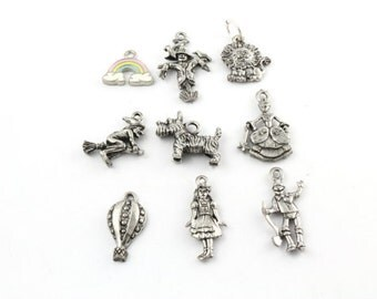 Wizard of Oz Charms - Dorothy - Tin Man - Scarecrow - Lion - Rainbow - Witch - Hot Air Balloon - Fairy Godmother - Toto