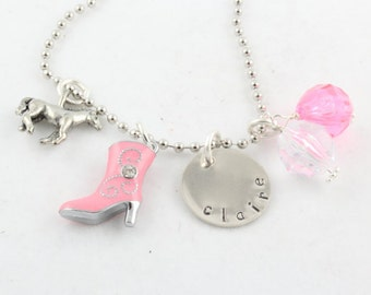 Cowgirl Personalized Horse Charm Necklace for Children - Western Girl - Hand Stamped Custom Necklace