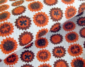 1950s Vintage Cotton Fabric - Geometric Starburst Print in Orange and Brown - Vintage Yardage