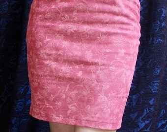 Women's Mini Skirt, Pink Denim Printed, High Waist, Women's Designer Fashion, Floral Print, Cotton Elastane, Made in Australia