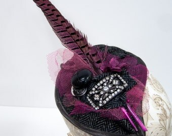 Steampink. Tweed Fascinator with Pink Pheasant Fathers. Steampunk hat.