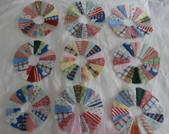 TINY DRESDEN PLATE Quilt Blocks Lot of Nine Six Inch Blocks Vintage Fabric