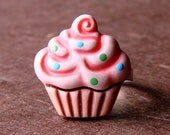 Pretty Pastel Pink Miniature Cupcake with Sprinkles Adjustable Ring