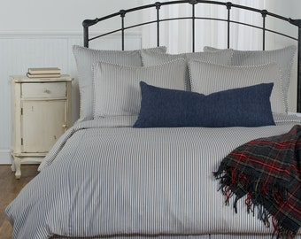 Ticking Stripe Duvet Cover - Navy, Black, Grey, Brown, Red Twin, Full, Queen, King sizes