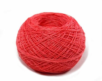 Crochet Thread 3 Ply Linen Thread Coral Salmon Very Fine Linen Yarn Specialty Thread Tatting Thread Natural Fiber Flax