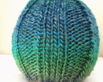 Hat Newborn Baby, Hand Knit, Ombre Blue and Green, Beanie, Hipster