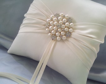 Ivory Ring Bearer Pillow Satin Ring Pillow Pearl Rhinestone Accent
