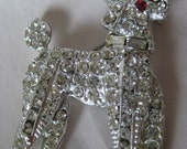 Poodle Dog Silver Rhinestone Brooch Clear Vintage Red Pin Puppy