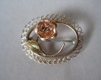 Rose Flower Gold Brooch Vintage Pin Filigree