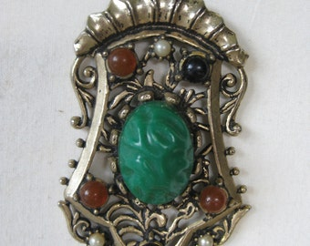 Chunky Green Rust Pearl Black Necklace Gold Filigree Vintage Pendant