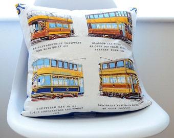 Handmade Cushion from Upcycled vinatge fabric depicting British Trams - Blue velvet backing