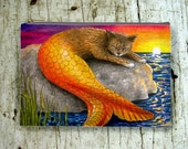 Cosmetic Bag Pouch Accessory for Purse Cat Mermaid 30 Fantasy art painting by Lucie Dumas