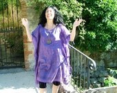 Purple Printed Cotton Ethnic Style Poncho-Kaftan Tunic with Fine Tassels