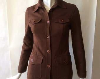 Vintage United Colors of Benetton jacket, 1990's copy of a 1970's jacket style, fitted, rich brown with button flap pockets, small / 2 - 4