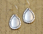 """Sterling silver, 3/4 x 1"""" teardrop, earrings, smooth, dots, rustic, oxidized, small, simple, textured, brushed, everyday, bytwilight"""