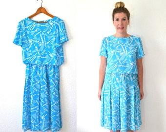20 DOLLAR SUPER SALE! Vintage turquoise dress - Flutter Sleeve Dress - Aqua Midi Dress - Tribal Dress