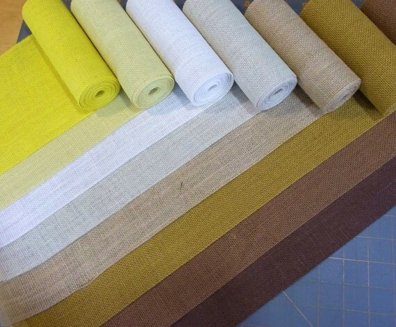 8 inch Burlap Ribbon - Canary - Butter - Beige - Ivory - Natural - Terracotta - Harvest Gold - Brown