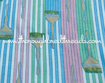 Paintbrushes and Stripes - Vintage Fabric New Old Stock Novelty 70s 80s