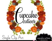 Water Color Fall Wreath- Single  Digital Clipart Elements Commercial use Instant Download
