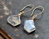 Rutilated Quartz Earrings Golden Rutile Earrings Gold Earrings Geometric Pentagon Gemstone Rustic Jewelry