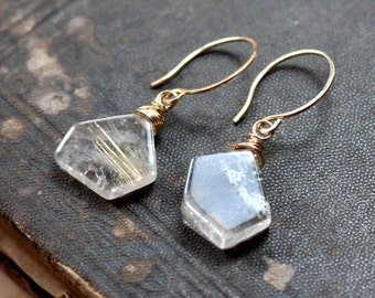 Rutilated Quartz Earrings Golden Rutile Earrings Gold Earrings Geometric Pentagon Gemstone Rustic Jewelry