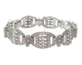 Vintage Art Deco Bracelet, Navette Rhinestone Cuff, Antique Art Deco Crystal Jewelry, 1920s Original Wedding Jewelry