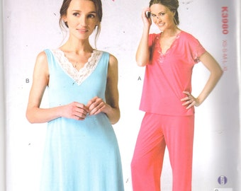 Kwik Sew 3980 Misses Nightgown and Pajamas Pattern V Neck Lace Trim Lingerie Womens Sewing Pattern Size XS  S M L XL Bust 31- 45 UNCUT