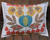 Pillow Cover 12 x 16 Vintage Hemp Linen Teal Gold Coral Natural