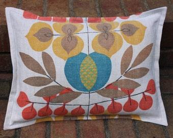 Pillow Cover 12 x 16 Vintage Hemp Linen Teal Gold Coral Natural