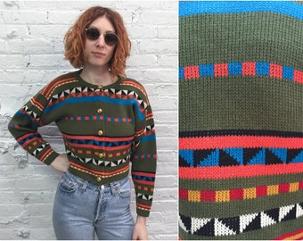 vintage 80s cropped sweater / 1980s bold geometric print crop sweater / cropped cardigan oversize chunky