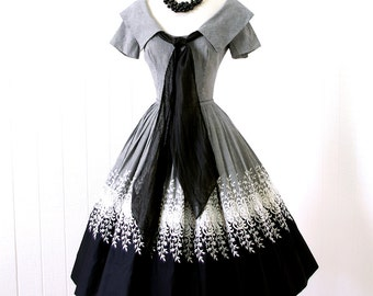 vintage 1950's dress ...classic beauty EMBROIDERED B&W GINGHAM sailorette shawl collar with long bow full skirt cocktail party dress