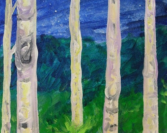 tree painting, Moon Trees, original acrylic painting on canvas, forest painting, landscape painting, original art, night landscape, wall art