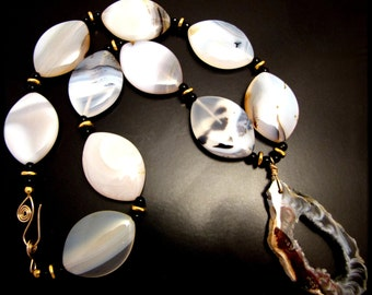 OH MONTANA ~ Bold Dendritic Agate, Geode Agate, 14kt Gold Fill Necklace